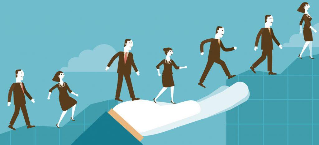 Hand helping people cross a gap