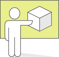 man pointing at a cube explaining