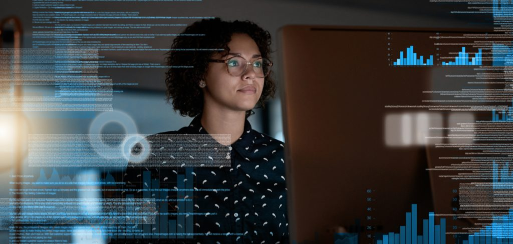 Woman in leadership working with computers
