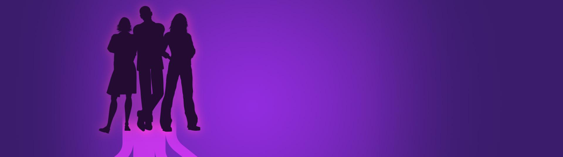 three shadow people on purple background