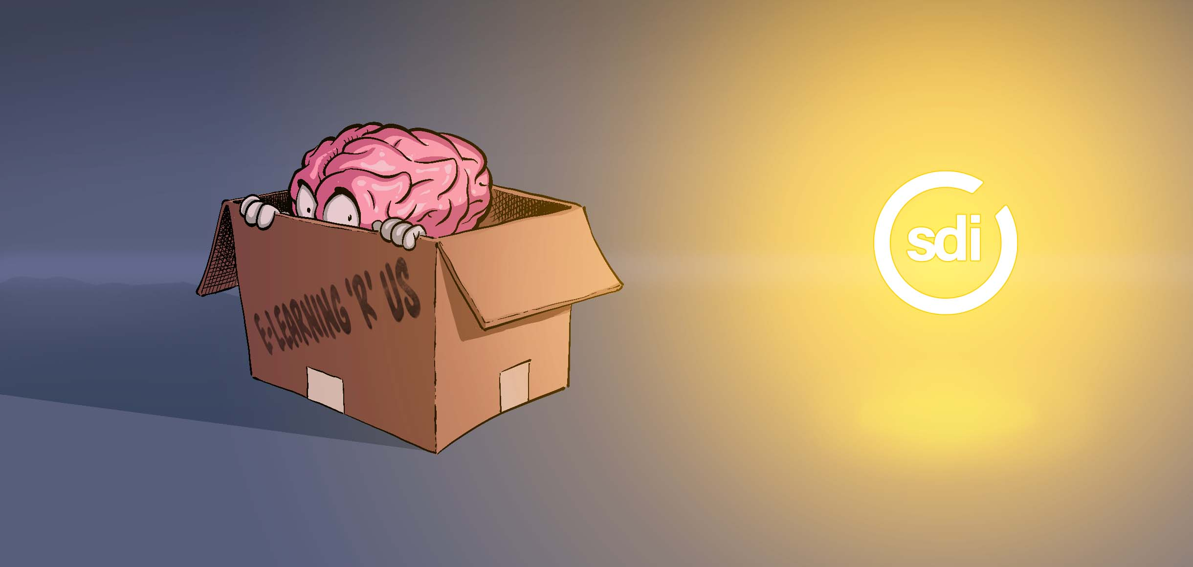 brain hiding in a box with sdi logo shining light on it